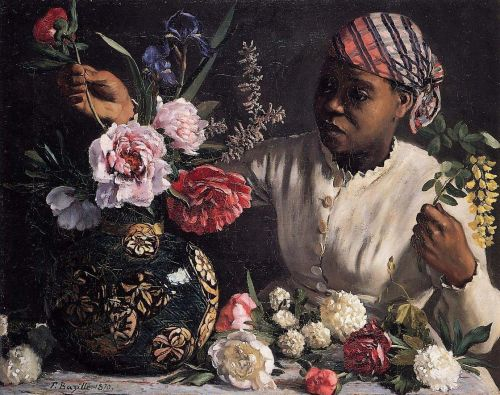 African woman with Peonies, 1870 by Frédéric Bazille