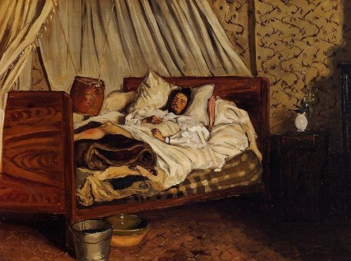 Monet after His Accident at the Inn of Chailly (The Improvised Field Hospital), 1865 by Frédéric Bazille