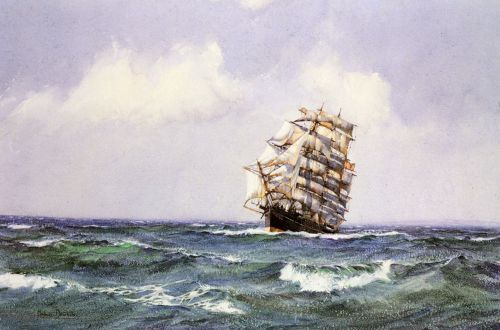 The Ship Lightening making Landfall in Summer Weather by Montague Dawson