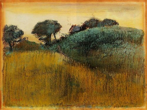 Wheatfield and Green Hill, 1890-1892 by Edgar Degas
