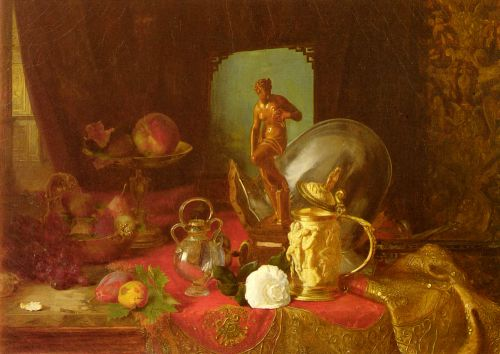 Still Life with Fruit, Objets d'Art and a White Rose on a Ta by Blaise Alexandre Desgoffe
