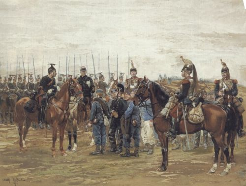 A French Cavalry Officer Guarding Captured Bavarian Soldiers by Edouard Detaille