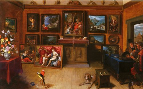 A Picture Gallery With A Man Of Science Making Measurements by Frans II Francken