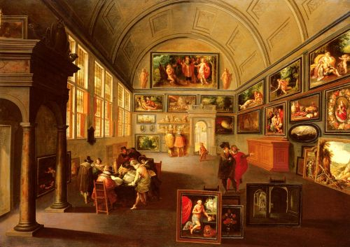 The interior of a picture gallery by Frans II Francken