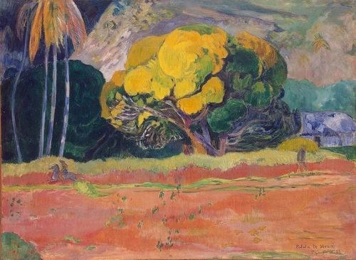 At the Foot of the Mountain by Paul Gauguin