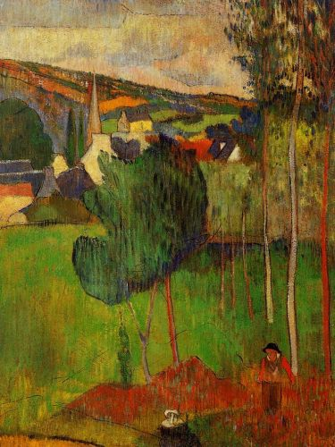 View of Pont-Aven from Lezaven, 1888 by Paul Gauguin