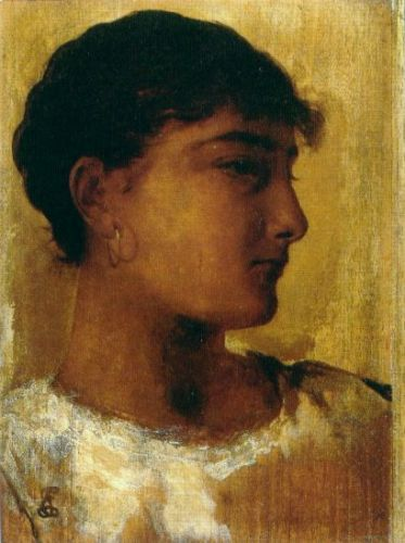 Study of a Young Girls Head, another view by Edwin Long