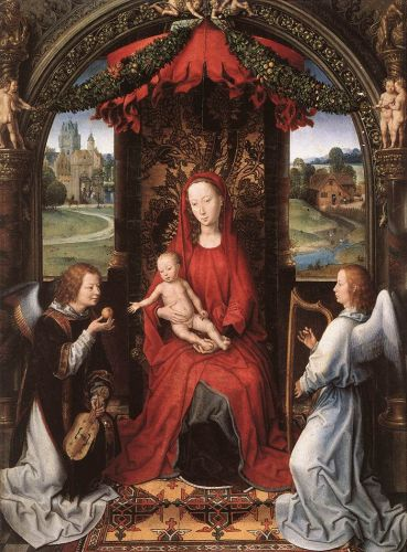 Madonna Enthroned with Child and Two Angels by Hans Memling