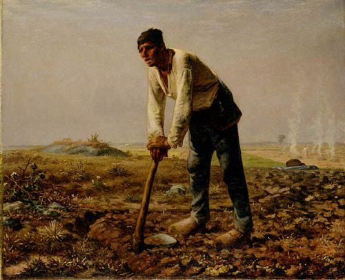 Man with a hoe by Jean François Millet
