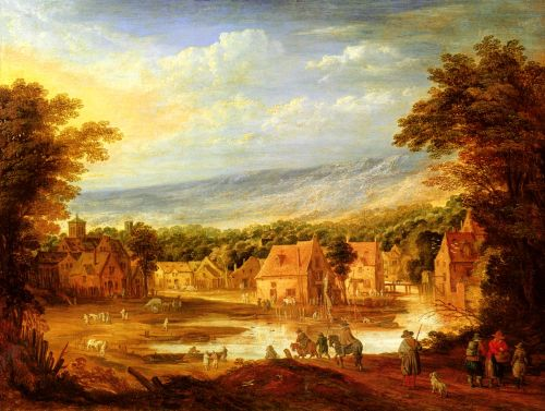 An extensive river landscape with travellers approaching a v by Joos de Momper