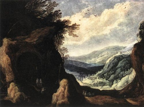 Rocky Landscape with Monks by Joos de Momper