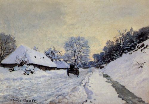 A Cart on the Snow Covered Road with Saint-Simeon Farm, 1865 by Claude Monet