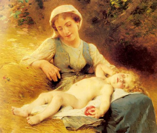 A Mother with her Sleeping Child by Leon Jean Basile Perrault