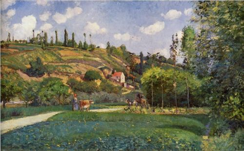 A Cowherd on the Route de Chou, Pontoise, 1874 by Camille Pissarro
