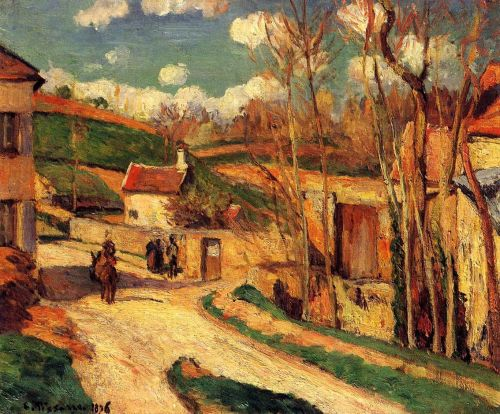 Crossroads at l'Hermitage, Pontoise, 1876 by Camille Pissarro