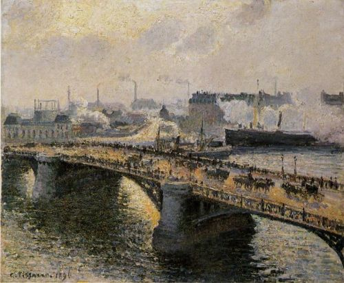 The Pont Boieldieu in Rouen: Sunset, Misty Weather, 1896 by Camille Pissarro