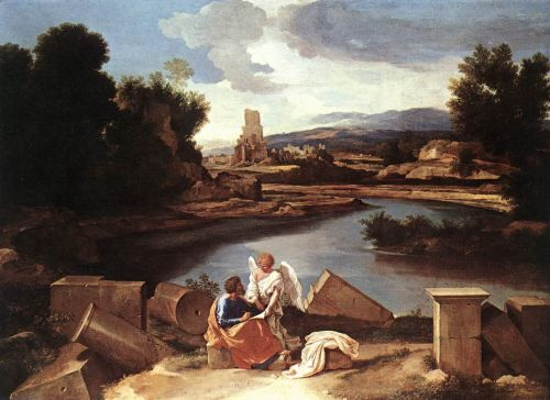 Landscape with St Matthew and the Angel by Nicolas Poussin