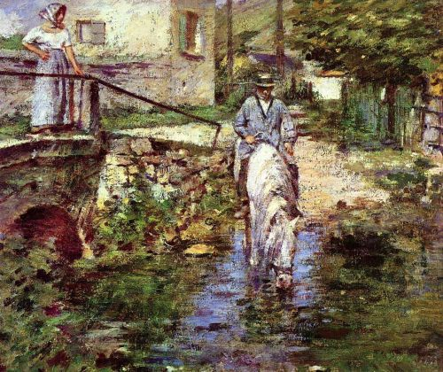 Père Trognon and His Daughter at the Bridge by Theodore Robinson