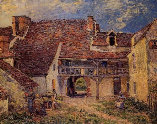 Courtyard of a Farm at Saint-Mammes, 1884 by Alfred Sisley