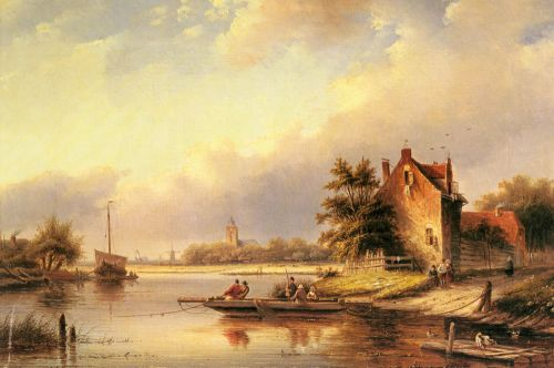 A Summer's Day at the Ferry Crossing by Jan Jacob Coenraad Spohler