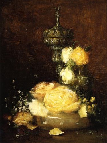 Silver Chalice with Roses by Julian Alden Weir